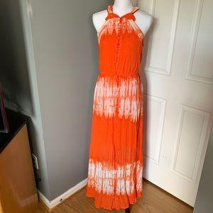 Gibson Latimer orange/white maxi dress size Small
